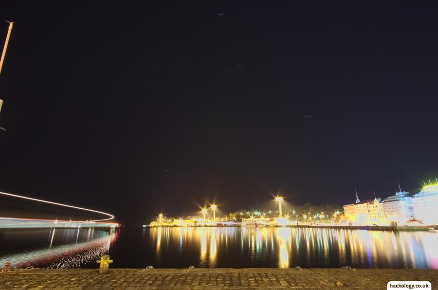 Helsinki boat port at night