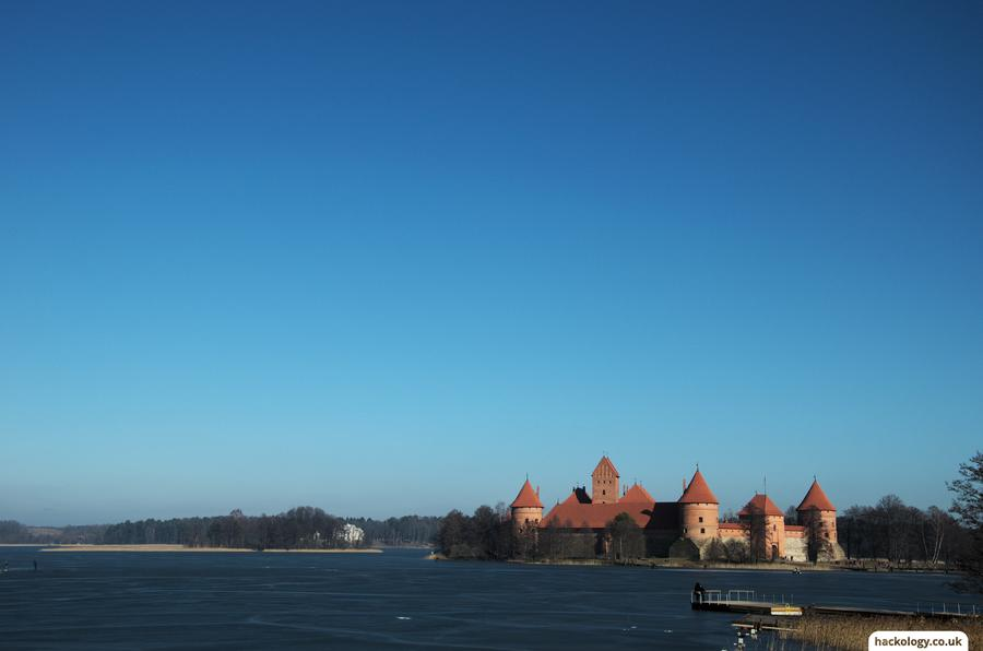 Trakai castle on a frozen lake
