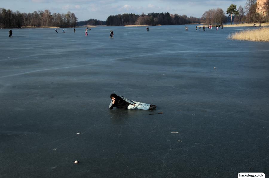 Sunbathing on a frozen lake... it was sunny!
